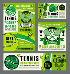 sport school of tennis game with rackets and ball vector image