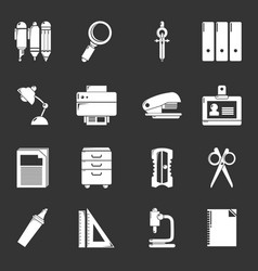 Stationery icons set grey vector
