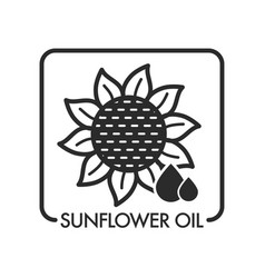 sunflower oil drops and plant graphic art with vector image