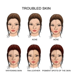 Troubled skin and healthy skin vector