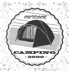 Vintage camping and outdoor adventure emblems vector