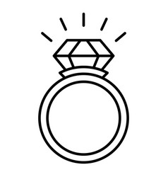 Wedding ring icon outline style vector