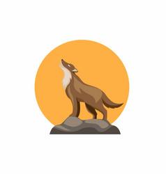 Wolf howl at yellow moon symbool in cartoon vector
