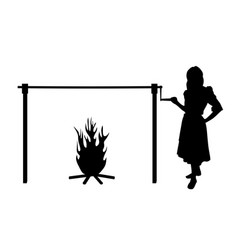 Woman and spit roast fire vector