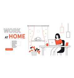Work at home - line design style web banner vector