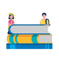 young man and woman with stack books study vector image