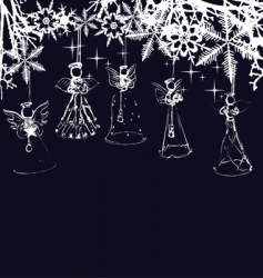 angels Christmas tree decoration vector image vector image