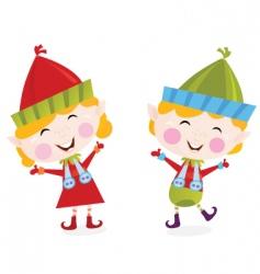 Christmas boy and girl elves vector image vector image