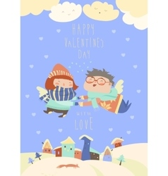 Cute couple of angels flying above the houses vector image vector image