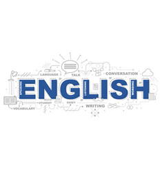 design concept of word english website banner vector image