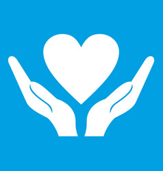 hands holding heart icon white vector image