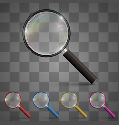 magnifying glass art set color vector image vector image
