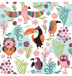 Seamless pattern with exotic birds vector