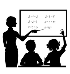 Silhouette of teacher at blackboard with children vector image vector image