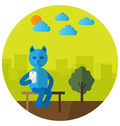 Cat with mobile phone vector image