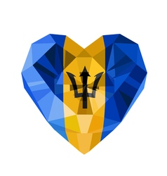 Crystal gem jewelry barbadian heart with the flag vector