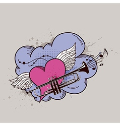 heart trumpets vector image