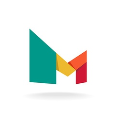 Letter M logo template Origami colorful style vector image