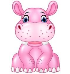 Cartoon baby hippo sitting isolated vector image