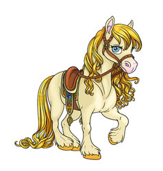 cute horse with golden mane harnessed to a saddle vector image vector image