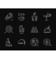 Mexican restaurant white flat line icons vector image vector image