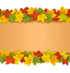 Paper border with maple leaves vector