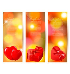 Set of beautiful valentine gift cards with red vector image