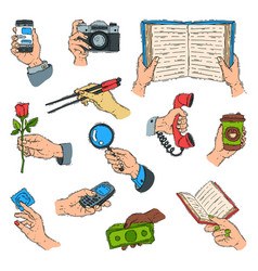 Sketch hands holdings objects and showing items vector
