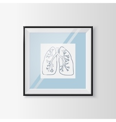 Anatomical lungs sketch in a frame vector