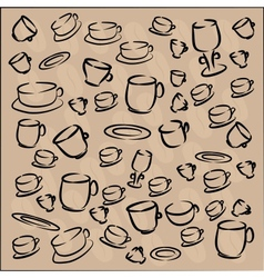 cup and saucer with coffee beans vector image vector image