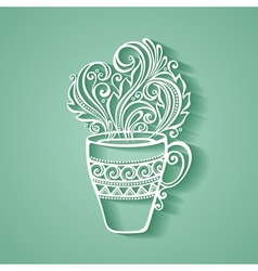 Decorative cup of tea vector