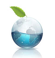 Earth with green leaf and water vector image