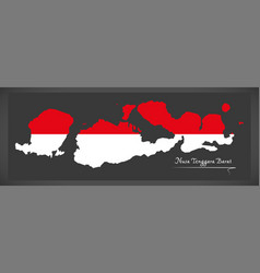 nusa tenggara barat indonesia map with indonesian vector image vector image