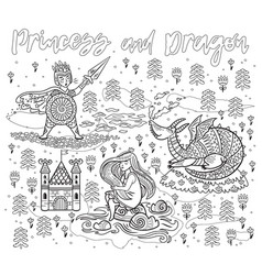 Princess and dragon art in outline magic fantasy vector