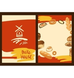 Set of of hand drawn bread bun and vector image vector image