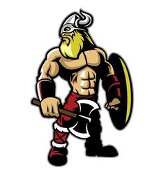 standing muscle body of viking warrior vector image vector image