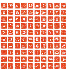 100 craft icons set grunge orange vector