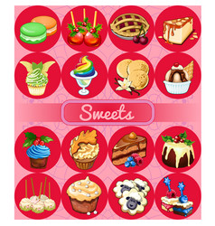 A set of delicious desserts and festive food vector