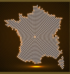 abstract france map of glowing radial dots vector image