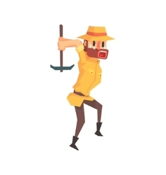 Adventurer Archeologist In Safari Outfit And Hat vector