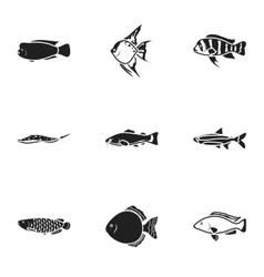Aquarium fish set icons in black style Big vector image