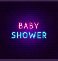 baby shower neon text vector image