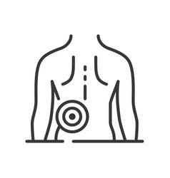 Backache - line design single isolated icon vector