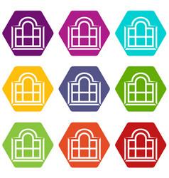 Beautiful window frame icons set 9 vector