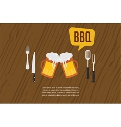 Beer glasses as BBQ invitation vector