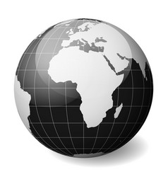 black earth globe focused on africa with thin vector image