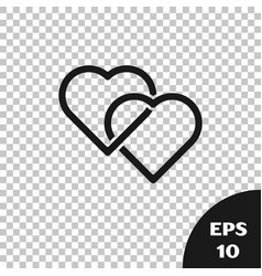 Black two linked hearts icon isolated on vector