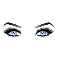 blue woman eyes with long false lashes with vector image