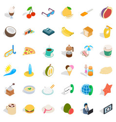 Breakfast food icons set isometric style vector