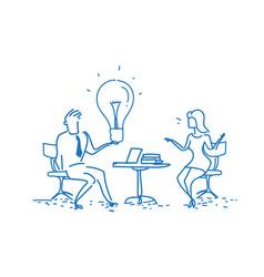 Businessman giving light lamp innovation idea vector